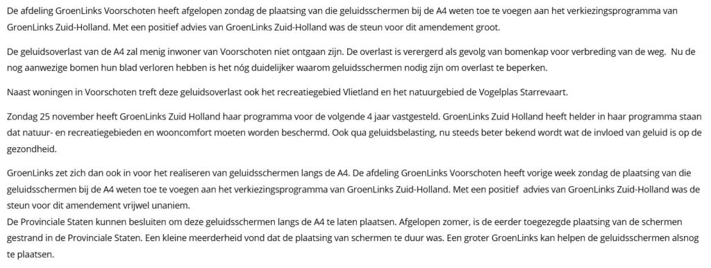 Nieuwsbericht 4 december 2018 op Voorschotenonline over GroenLinks Zuid-Holland wil geluidsschermen A4