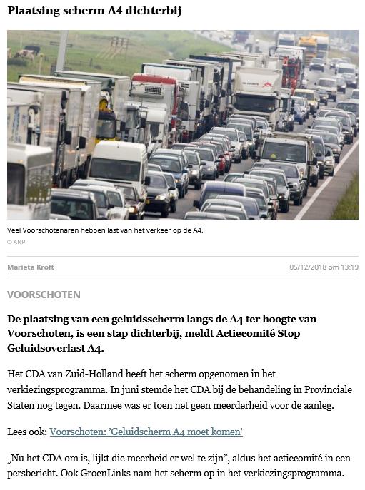Nieuwsbericht 5 december 2018 in Leidsch Dagblad over Plaatsing scherm A4 dichterbij