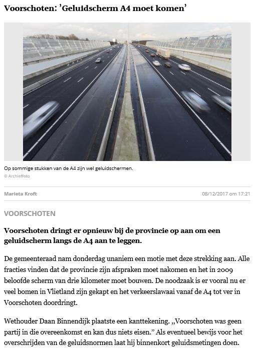 Nieuwsbericht 8 december 2017 in Leidsch Dagblad over Voorschoten - Geluidscherm A4 moet komen