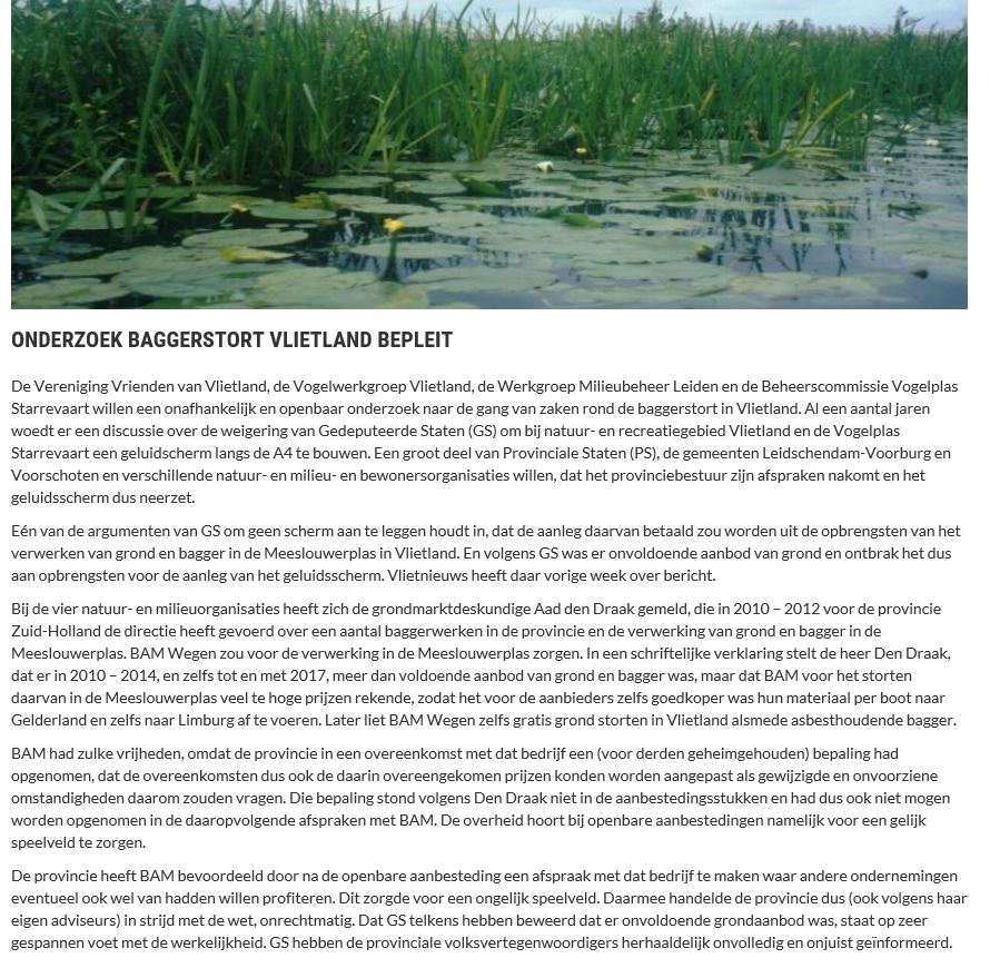 Nieuwsbericht 11 februari 2019 op Vlietnieuws over Onderzoek baggerstort Vlietland bepleit