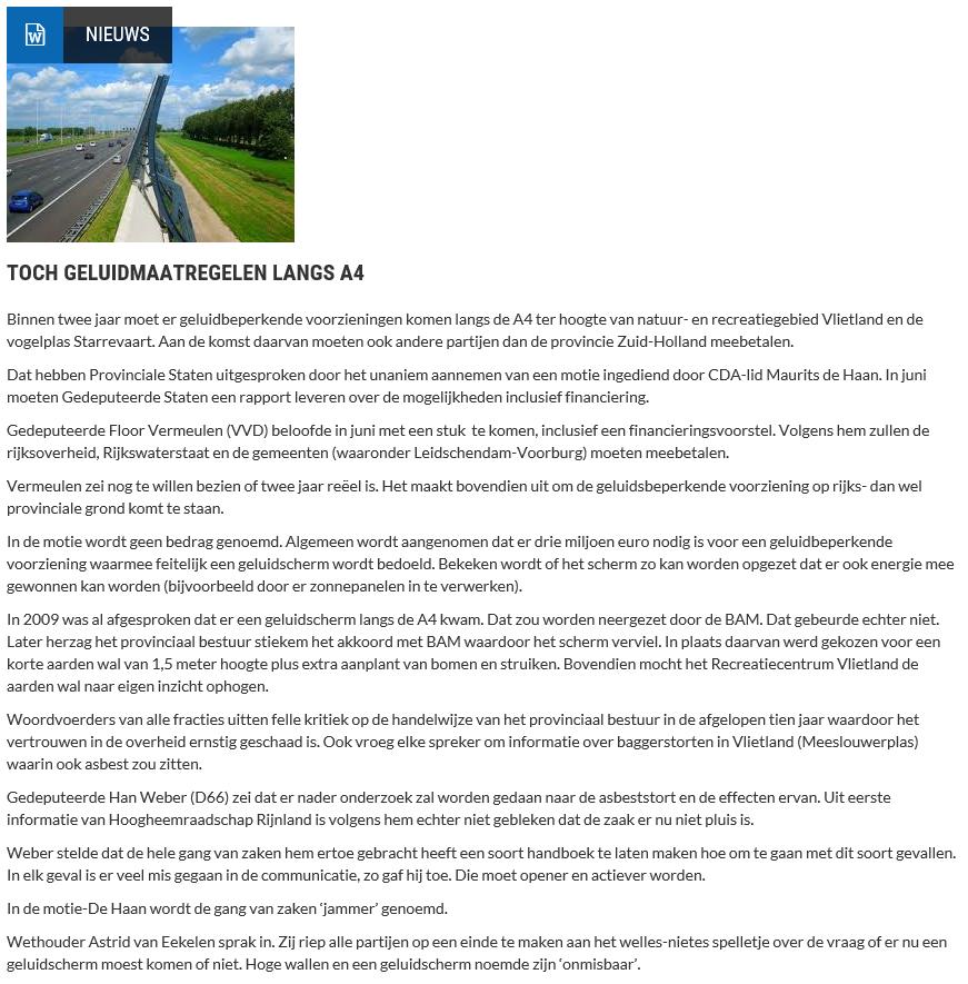 Nieuwsbericht 21 februari 2019 op Vlietnieuws over Toch geluidmaatregelen langs A4