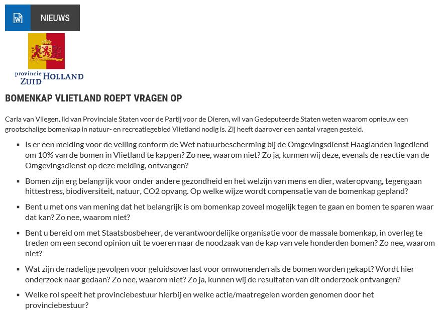 Nieuwsbericht 1 augustus 2019 op Vlietnieuws over Bomenkap Vlietland roept vragen op