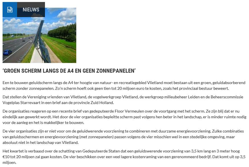 Nieuwsbericht 10 juli 2019 op Vlietnieuws over 'Groen scherm langs de A4 en geen zonnepanelen'