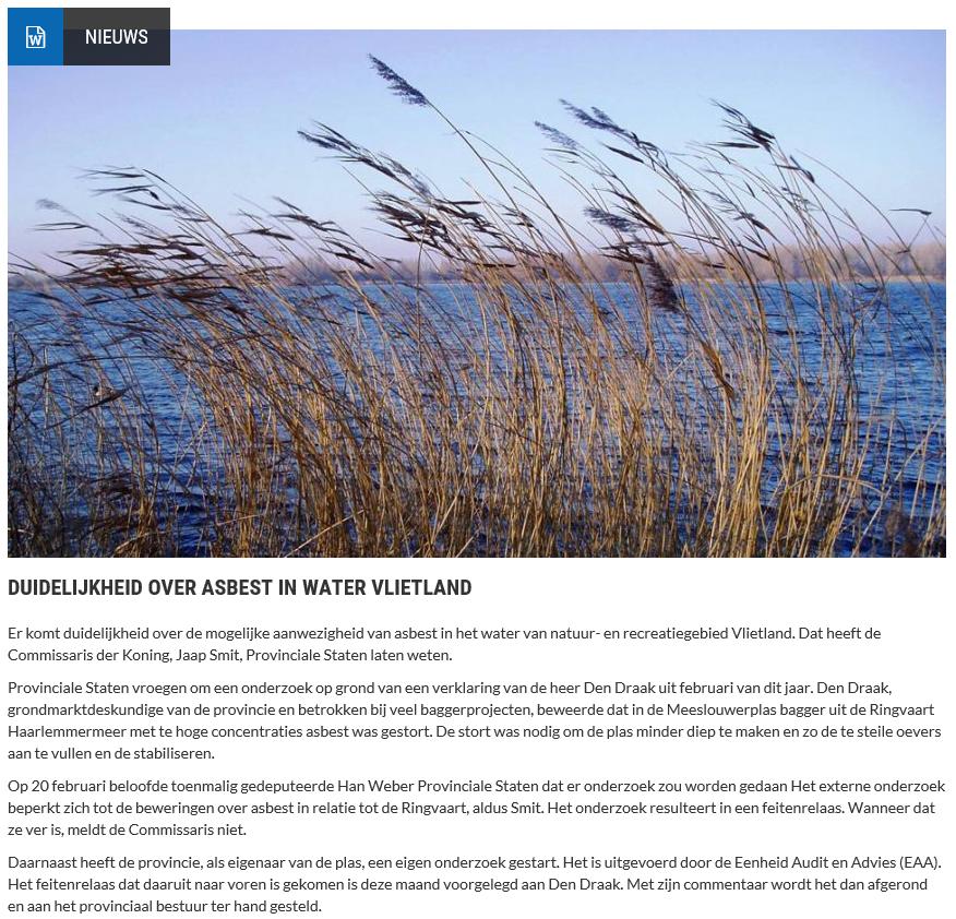 Nieuwsbericht 24 juli 2019 op Vlietnieuws over Duidelijkheid over asbest in water Vlietland
