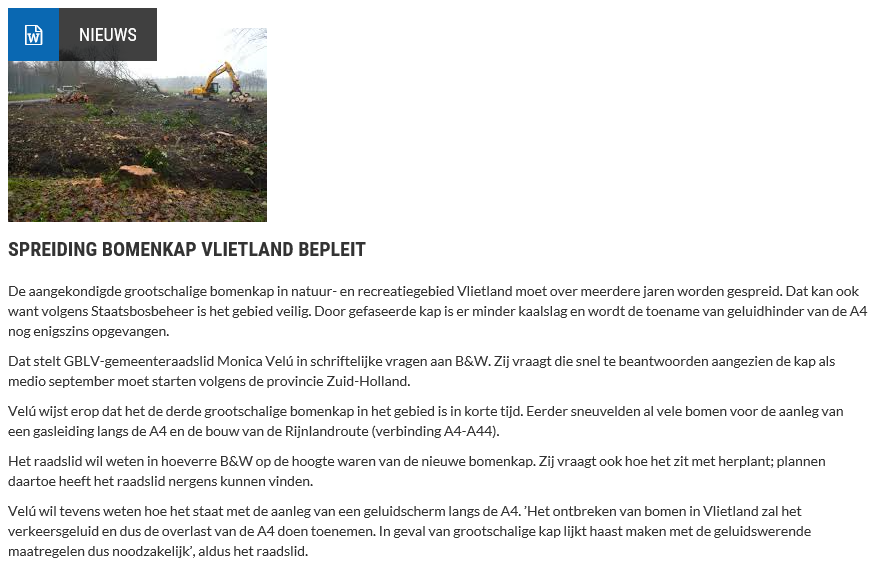 Nieuwsbericht 6 augustus 2019 op Vlietnieuws over Spreiding bomenkap Vlietland bepleit