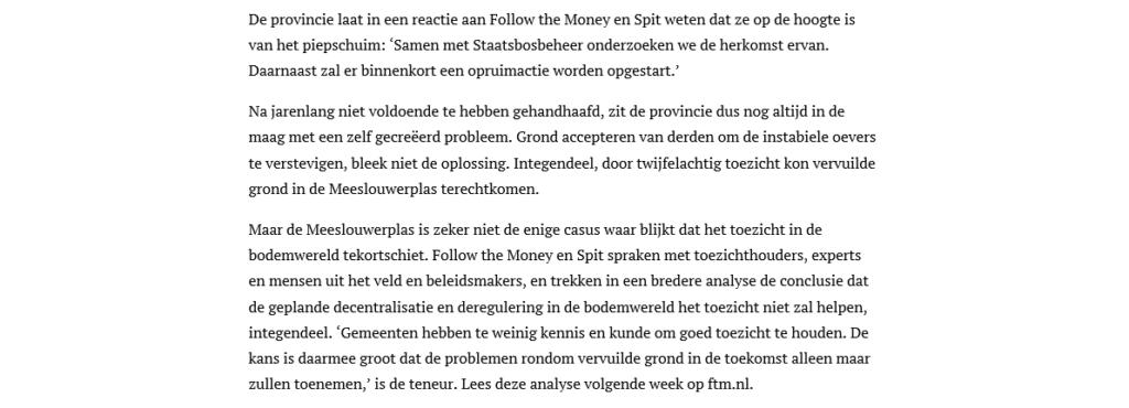 Artikel 28 september 2019 van Follow the Money over Hoe de overheid een gifbeker kan legen in een natuurplas en ermee wegkomt (17)