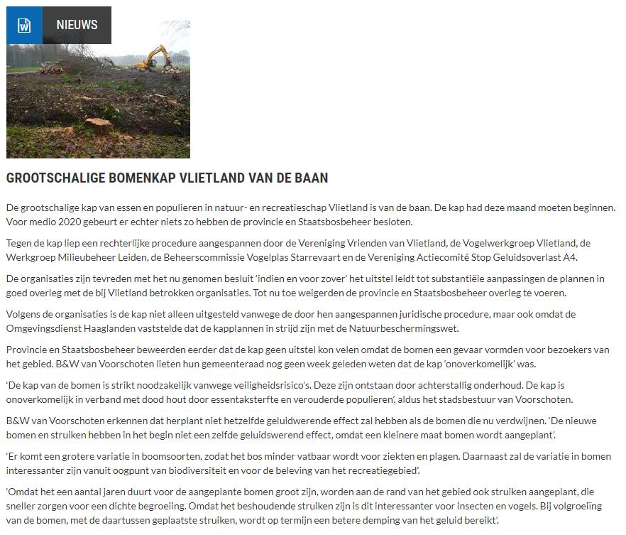 Nieuwsbericht 14 september 2019 op Vlietnieuws over Grootschalige bomenkap Vlietland van de baan