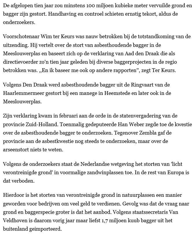 Nieuwsbericht 26 september 2019 op Leidsch Dagblad over Zembla Meeslouwerplas met asbestbagger is geen uitzondering (2)