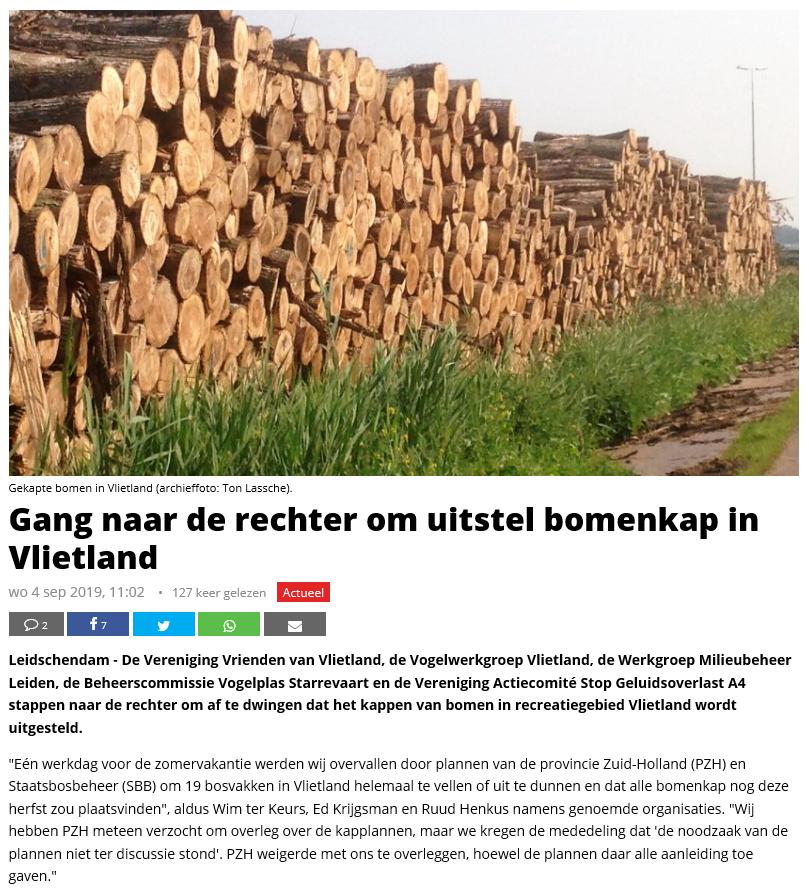 Nieuwsbericht 4 september 2019 op Het Krantje over Gang naar de rechter om uitstel bomenkap in Vlietland (1)