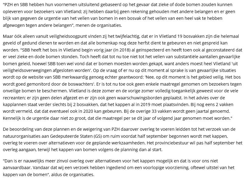 Nieuwsbericht 4 september 2019 op Het Krantje over Gang naar de rechter om uitstel bomenkap in Vlietland (2)