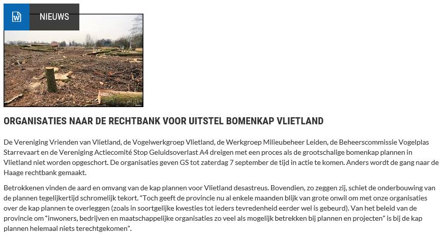 Nieuwsbericht 5 september 2019 op Vlietnieuws over Organisaties naar de rechtbank voor uitstel bomenkap Vlietland