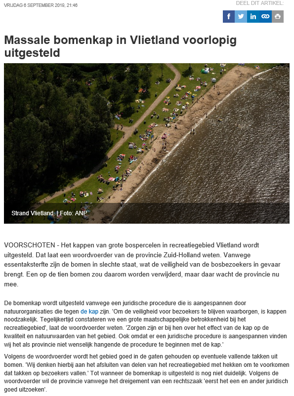 Nieuwsbericht 6 september 2019 op Omroep West over Massale bomenkap in Vlietland voorlopig uitgesteld (ongecorrigeerd)