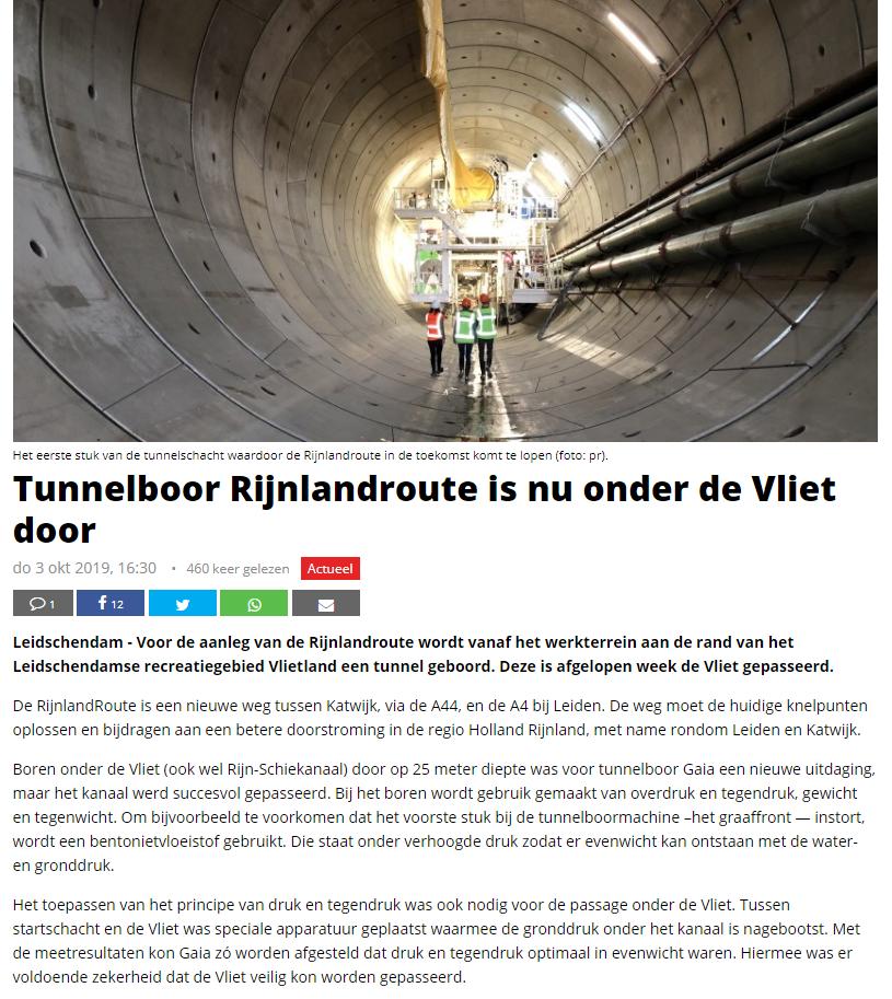 Nieuwsbericht 3 oktober 2019 in Het Krantje Online over Tunnelboor Rijnlandroute is nu onder de Vliet door