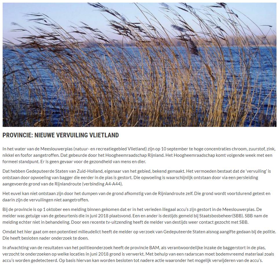 Nieuwsbericht 18 oktober 2019 op Vlietnieuws over Provincie Nieuwe vervuiling Vlietland