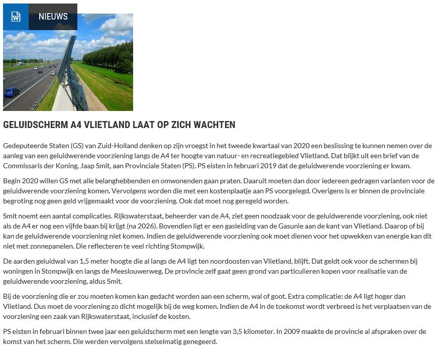 Nieuwsbericht 21 december 2019 op Vlietnieuws over Geluidscherm A4 Vlietland laat op zich wachten