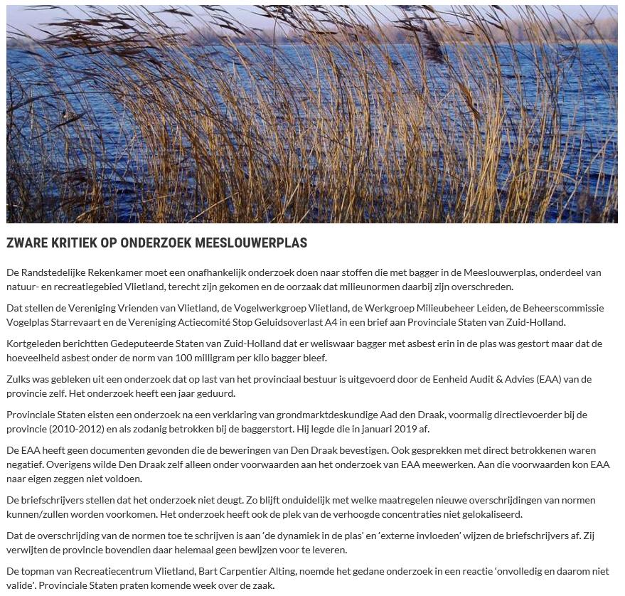 Nieuwsbericht 16 januari 2020 op Vlietnieuws over Zware kritiek op onderzoek Meeslouwerplas
