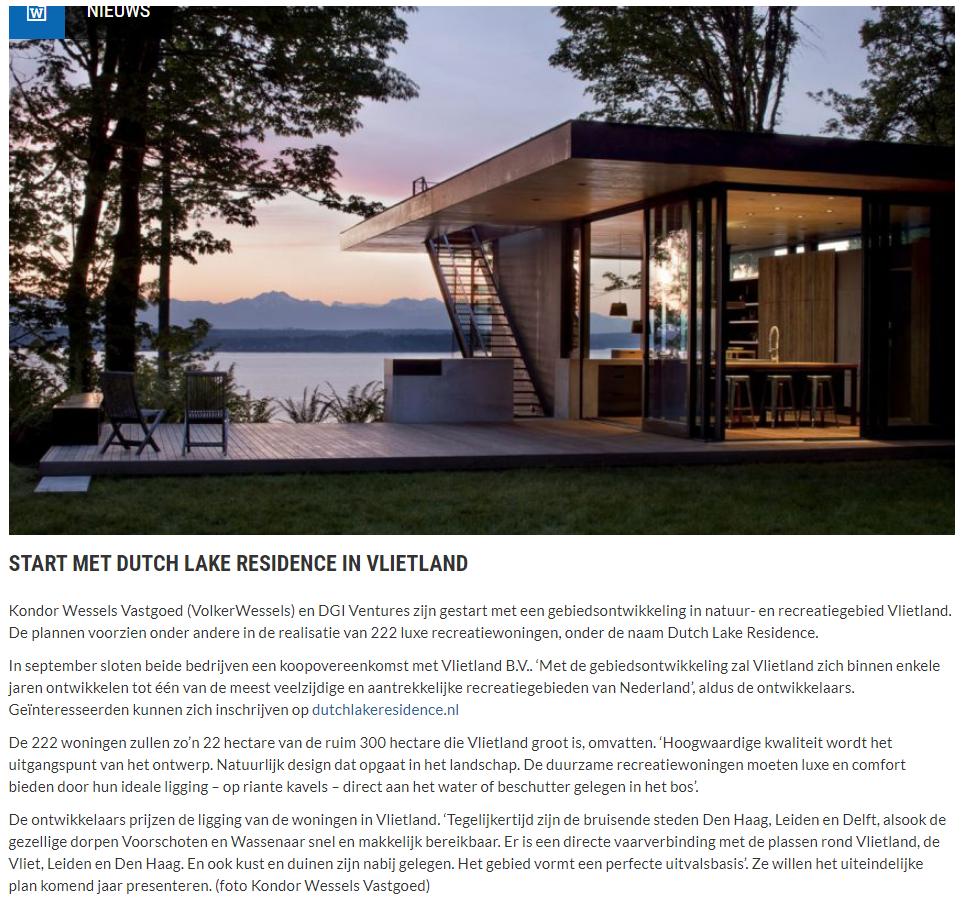 Nieuwsbericht 2 januari 2020 op Vlietnieuws over Start met Dutch Lake Residence in Vlietland