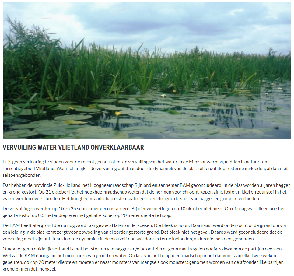 Nieuwsbericht 23 december 2019 op Vlietnieuws over Vervuiling water Vlietland onverklaarbaar