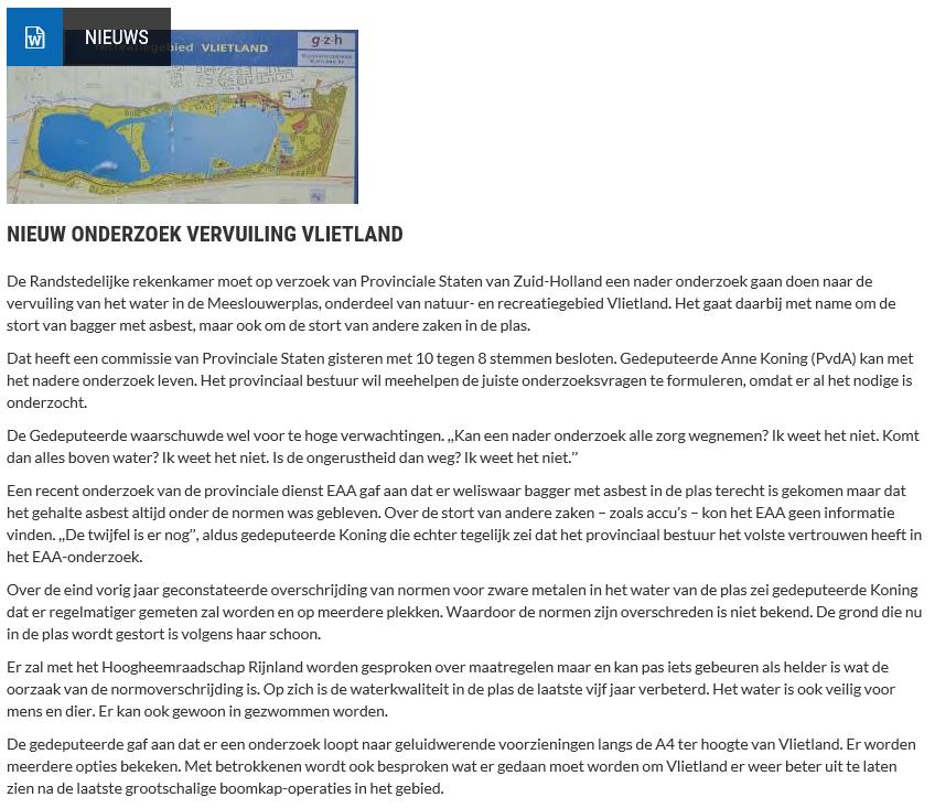 Nieuwsbericht 23 januari 2020 op Vlietnieuws over Nieuw onderzoek vervuiling Vlietland