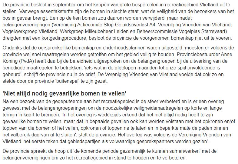 Nieuwsbericht 8 januari 2020 op Omroep West over Provincie betuigt spijt voor aanpak 'gevaarlijke bomen' Vlietland (2)