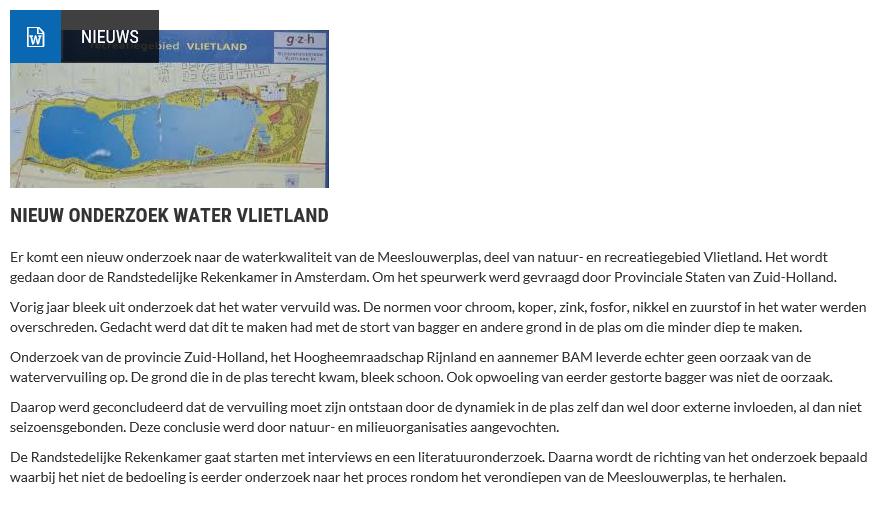 Nieuwsbericht 18 mei 2020 op Vlietnieuws over Nieuw onderzoek water Vlietland