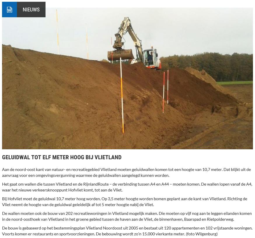 Nieuwsbericht 30 april 2020 op Vlietnieuws over Geluidwal tot elf meter hoog bij Vlietland