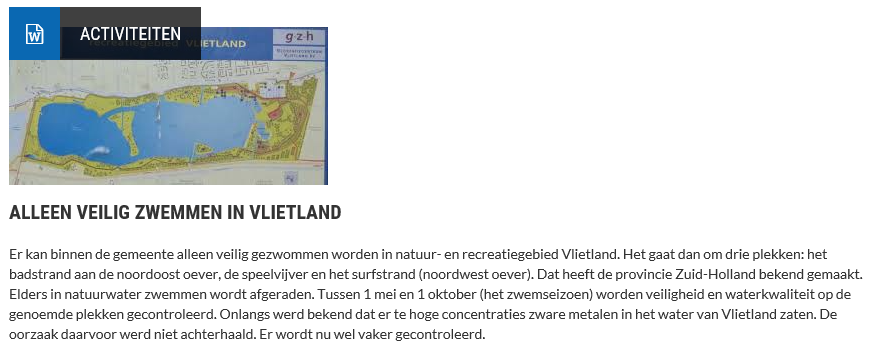 Nieuwsbericht 9 februari 2020 op Vlietnieuws over Alleen veilig zwemmen in Vlietland