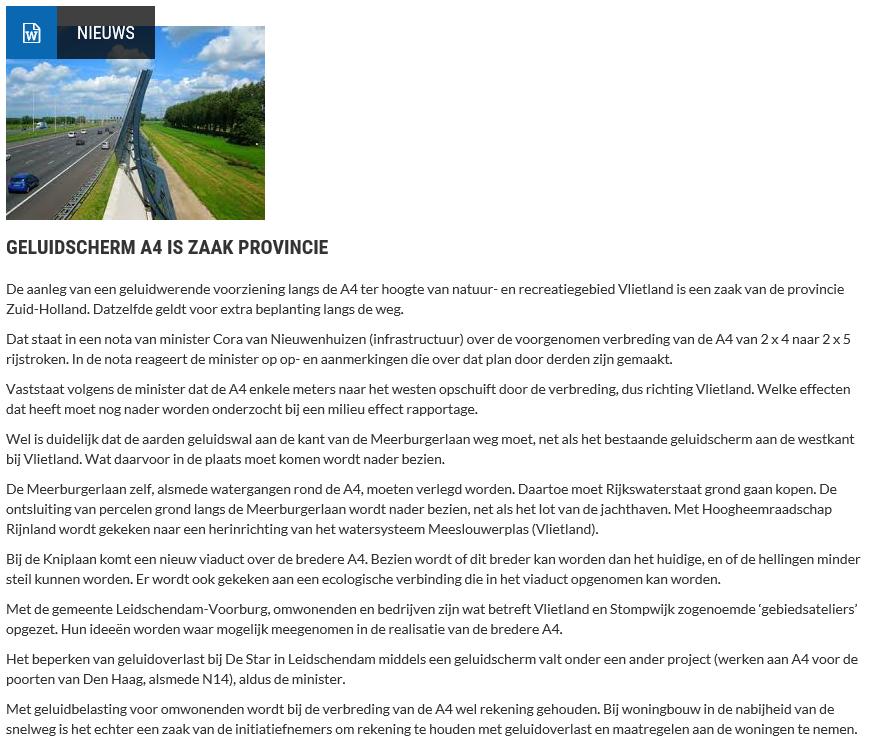 Nieuwsbericht 13 juli 2020 op Vlietnieuws over Geluidscherm A4 is zaak provincie