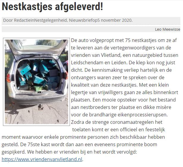 Nieuwsitem 5 november 2020 op website Vogelwacht Delft en Omstreken over Nestkastjes afgeleverd!