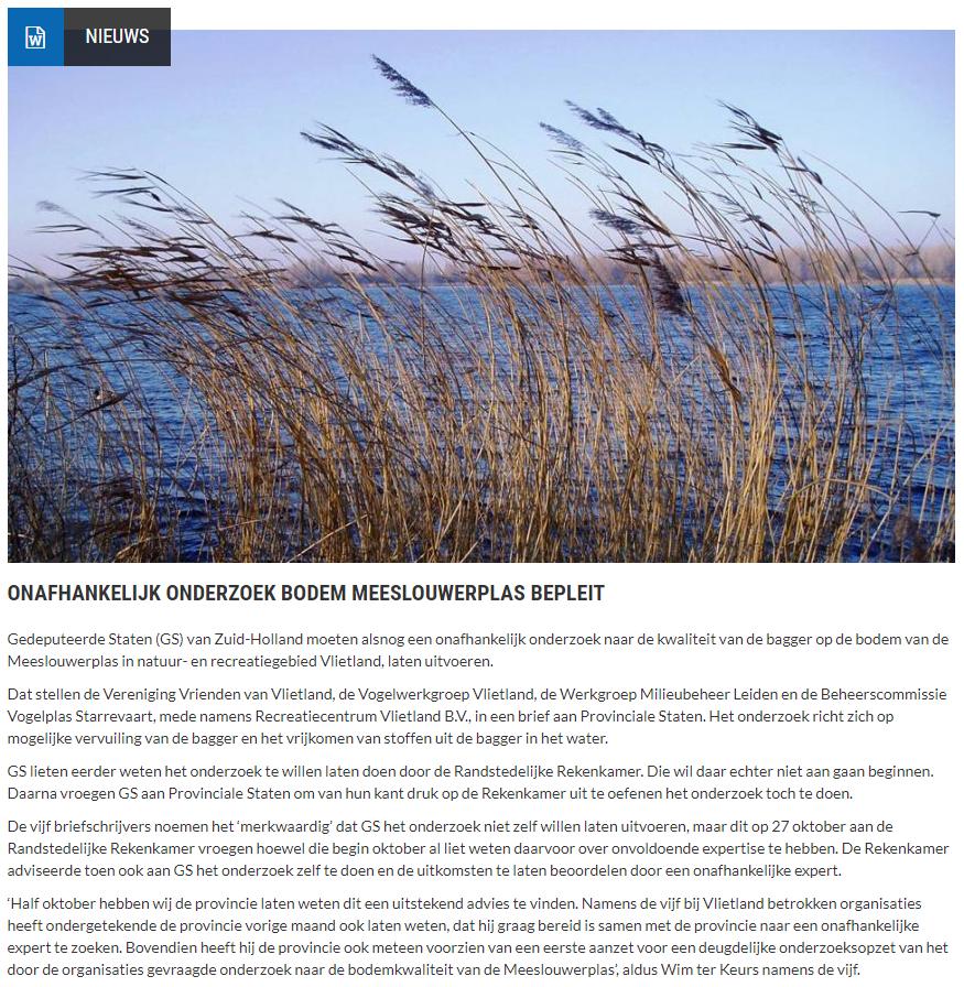 Nieuwsbericht 1 december 2020 op Vlietnieuws over Onafhankelijk onderzoek bodem Meeslouwerplas bepleit