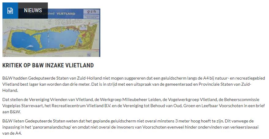 Nieuwsbericht 15 december 2020 op Vlietnieuws over Kritiek op B&W inzake Vlietland