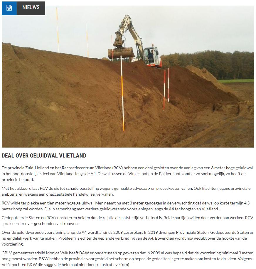 Nieuwsbericht 16 januari 2021 op Vlietnieuws over Deal over geluidwal Vlietland