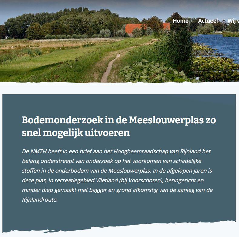 Item 20 april 2021 op NMZH over Bodemonderzoek in de Meeslouwerplas zo snel mogelijk uitvoeren (1)