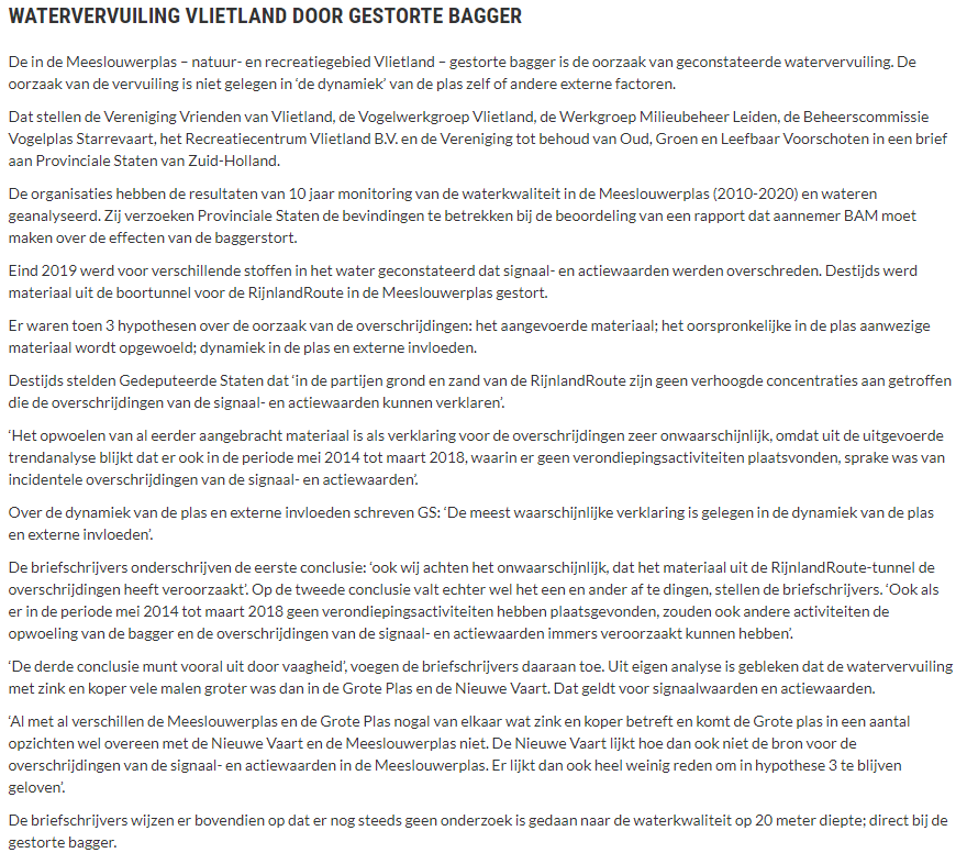 Nieuwsbericht 20 juli 2021 op Vlietnieuws over Watervervuiling Vlietland door gestorte bagger (2)