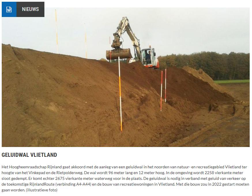 Nieuwsbericht 24 juni 2021 op Vlietnieuws over Geluidswal Vlietland