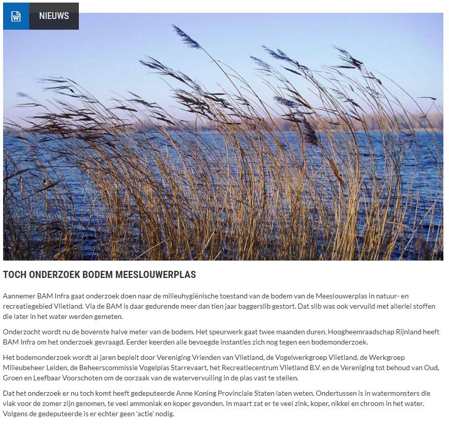 Nieuwsbericht 2 september 2021 op Vlietnieuws over Toch onderzoek bodem Meeslouwerplas